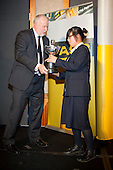 Fred Revell, ASB General Manager Community Partnership, presents Cecilia Cho with the Young Sportswoman of the Year trophy. ASB College Sport Young Sportsperson of the Year Awards held at Eden Park, Auckland, on November 11th 2010.
