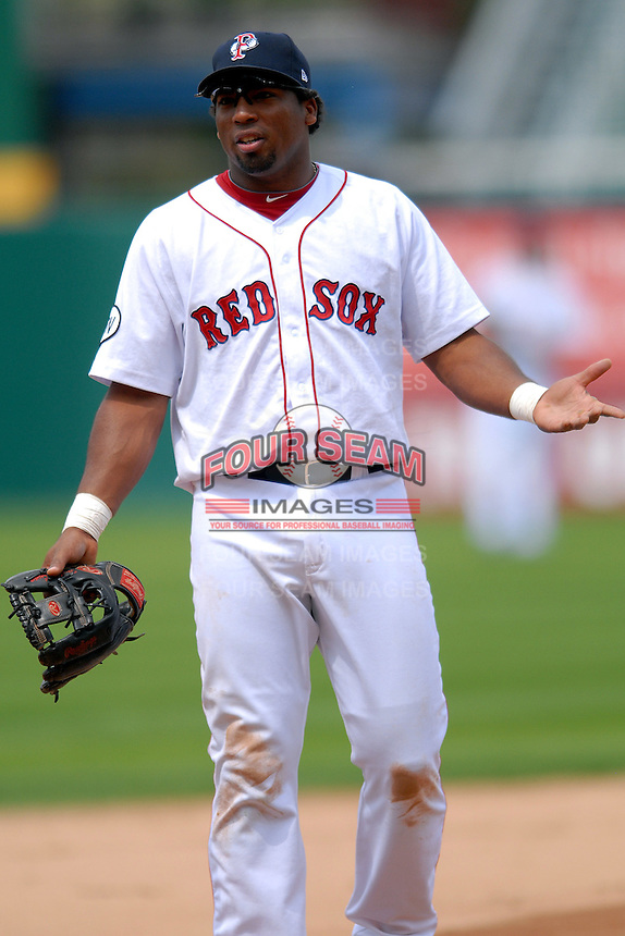 Infielder Hector Luna #20 of the Pawtucket Red Sox during a game versus the Toledo Mud Hens on May 3, 2011 at McCoy Stadium in Pawtucket, Rhode Island. Photo by Ken Babbitt /Four Seam Images