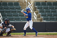 Jordan Lathe (6) of the Mars Hill Lions at bat against the Queens Royals at Intimidators Stadium on March 30, 2019 in Kannapolis, North Carolina. The Royals defeated the Bulldogs 11-6 in game one of a double-header. (Brian Westerholt/Four Seam Images)