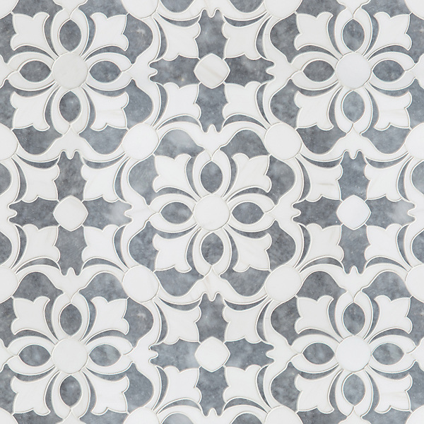 Galata, a waterjet mosaic, shown in polished Dolomite and Allure, was designed by Paul Schatz as part of the Miraflores Collection by New Ravenna.