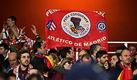 Atletico Madrid supporters during the UEFA Europa League Semi Final 1st leg match between Arsenal and Atletico Madrid at the Emirates Stadium, London, England on 26 April 2018. Photo by Andy Aleksiejczuk / PRiME Media Images