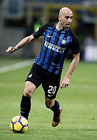 Calcio, Serie A: Inter - Roma, Milano, stadio Giuseppe Meazza (San Siro), 21 gennaio 2018.<br /> Inter's Borja Valero in action during the Italian Serie A football match between Inter Milan and AS Roma at Giuseppe Meazza (San Siro) stadium, January 21, 2018.<br /> UPDATE IMAGES PRESS/Isabella Bonotto