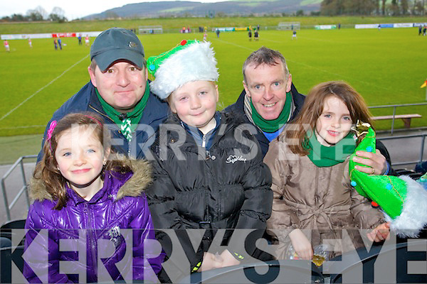 Milltown fans in Mallow on Sunday, from left: Emma Casey, Patrick Leen, Sarah Leen, Gerry Casey and Alice Casey.