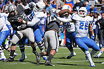 September 10, 2016 - Colorado Springs, Colorado, U.S. - Air Force defender, Ryan Watson #40, fights past Georgia State blocker, Kyler Neal #25, during the NCAA Football game between the Georgia State Panthers and the Air Force Academy Falcons, Falcon Stadium, U.S. Air Force Academy, Colorado Springs, Colorado.  Air Force defeats Georgia State 48-14.
