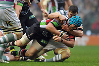 Joe Gray is tackled to ground. Big Game 5 Aviva Premiership match, between Harlequins and London Irish on December 29, 2012 at Twickenham Stadium in London, England. Photo by: Patrick Khachfe / Onside Images