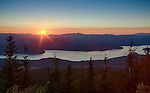 Idaho, North, Bonner County, Selkirk Mountains, Priest Lake.  Late summer sunset over Priest Lake from Sundance Mountain.