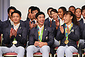 (L-R) Yusuke Tanaka, Kenzo Shirai, Eri Tosaka (JPN), <br /> AUGUST 24, 2016 : <br /> Japan Delegation attend a press conference after arriving in Tokyo, Japan.<br /> Japan won 12 gold medals, 8 silver medals, and 21 bronze medals during the Rio 2016 Olympic Games.<br /> (Photo by Yohei Osada/AFLO SPORT)