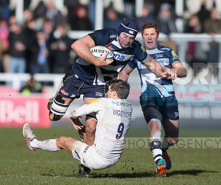Josh Beaumont  of Sale Sharks tackled by Richard Wigglesworth of Saracens - Aviva Premiership - Sale Sharks vs Saracens - AJ Bell Stadium Stadium - Salford - Manchester - England - 21st February 2015 - Picture Simon Bellis/Sportimage