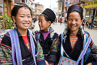 Black H'mong Tribal Women - The ters Hmong refers to an Asian ethnic group in the mountainous regions of southeast Asia.  Hmong groups gradually migrated southward due to political unrest and to find more arable land.  As a result, Hmong live in several countries in Southeast Asia, including northern Vietnam, Laos, Thailand and Burma.  There are various types of Hmong throughout Asia, including the Black Hmong and Flower Hmong, named after the styles of their clothing and costumes.