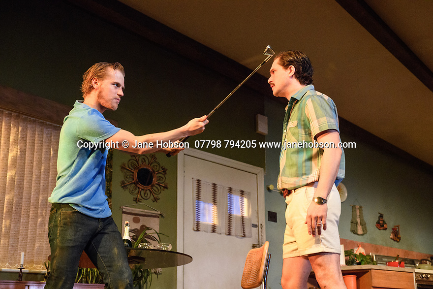 "London, UK. 29.11.2018. The first UK production, since the death of playwright Sam Shepard's play ""True West"", opens at the Vaudeville Theatre, directed by Matthew Dunster. Kit Harington and Johnny Flynn star, as brothers Austin and Lee, with Madeleine Potter and Donald Sage Mackay completing the cast. Picture shows: Johnny Flynn (Lee) and Kit Harington. Photograph © Jane Hobson."