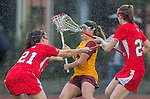 Los Angeles, CA 02/28/14 - Kylie Drexel (USC #23), Christine Astarita (Marist #21) and Kirsten Viscount (Marist #22) in action during the Marist Red Foxes vs University of Southern California Trojans NCAA Women's lacrosse game at Loker Track Stadium on the USC Campus.  Marist defeated USC 12-10.