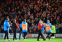 The Lincoln City fans applaud the players at the end of the game<br /> <br /> Photographer Chris Vaughan/CameraSport<br /> <br /> Vanarama National League - Lincoln City v Chester - Tuesday 11th April 2017 - Sincil Bank - Lincoln<br /> <br /> World Copyright &copy; 2017 CameraSport. All rights reserved. 43 Linden Ave. Countesthorpe. Leicester. England. LE8 5PG - Tel: +44 (0) 116 277 4147 - admin@camerasport.com - www.camerasport.com