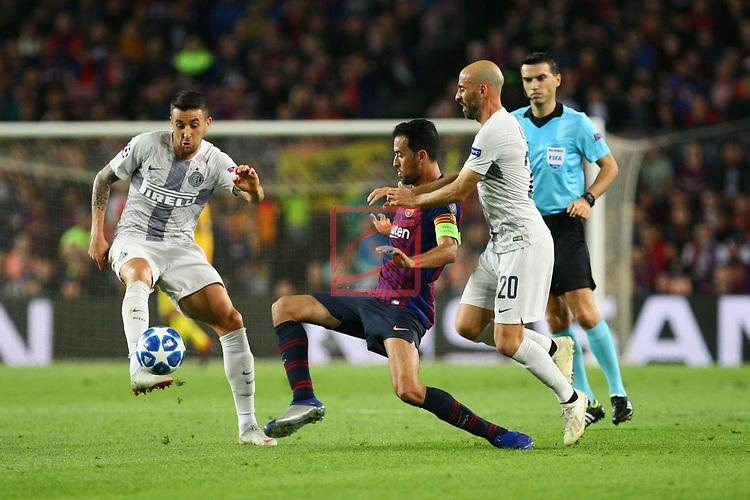 UEFA Champions League 2018/2019 - Matchday 3.<br /> FC Barcelona vs FC Internazionale Milano: 2-0.<br /> Matias Vecino, Sergio Busquets & Borja Valero.