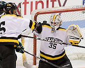 Shaun Jameson (WIT - 5), Alex Peck (WIT - 35) - The visiting Plymouth State University Panthers defeated the Wentworth Institute of Technology Leopards 2-1 on Monday, November 19, 2012, at Matthews Arena in Boston, Massachusetts.
