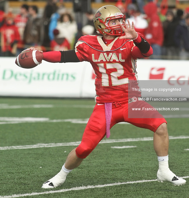 CIS Footlball profile photo on Laval Rouge et Or Bruno Prud'homme October 17, 2010 at the Stade du PEPS stadium in Quebec city.