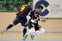 Caja Segovia's Jesus Herrero (r) and FC Barcelona Alusport's Sergio Lozano during Spanish National Futsal League match.November 24,2012. (ALTERPHOTOS/Acero) /NortePhoto