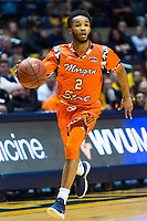 Morgantown, WV - NOV 18, 2017: Morgan State Bears guard Martez Cameron (2) brings the ball up court during game between West Virginia and Morgan State at WVU Coliseum Morgantown, West Virginia. (Photo by Phil Peters/Media Images International)