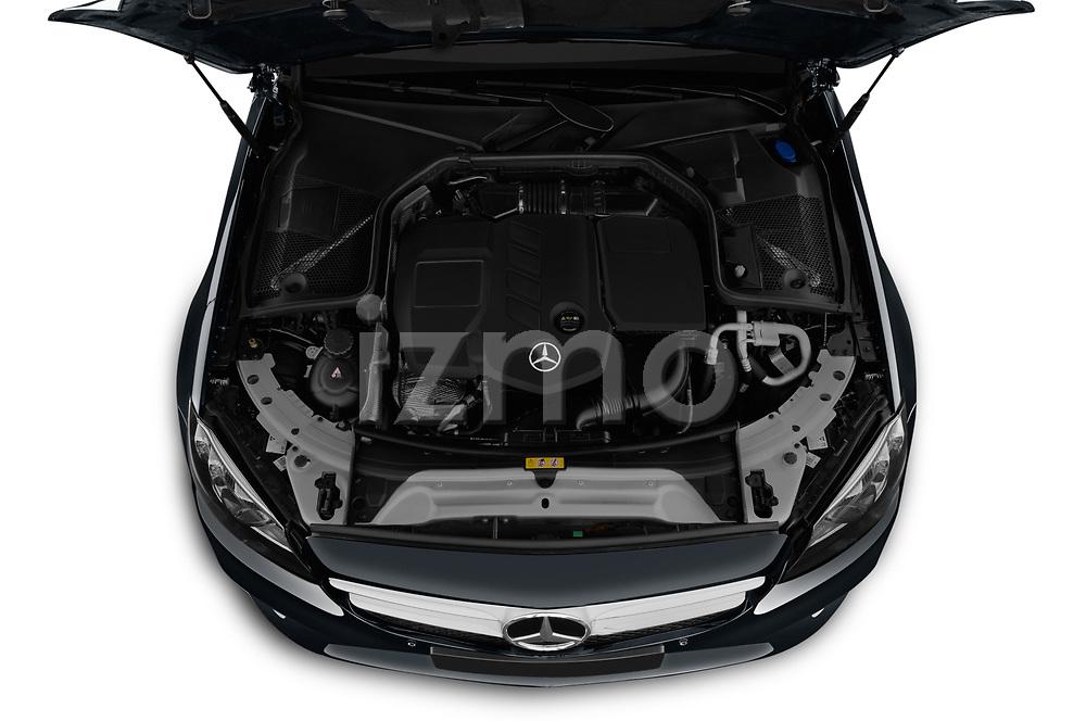 Car stock 2019 Mercedes Benz C Class Break Avantgarde 5 Door Wagon engine high angle detail view