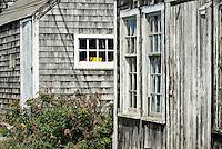 Rustic fishermans shack detail, Menemsha, Chilmark, Martha's Vineyard, Massachusetts, USA