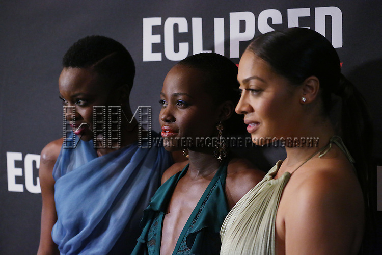 Danai Gurira, Lupita Nyong'o and La La Anthony attend the 'Eclipsed' broadway opening night after party at Gotham Hall on March 6, 2016 in New York City.