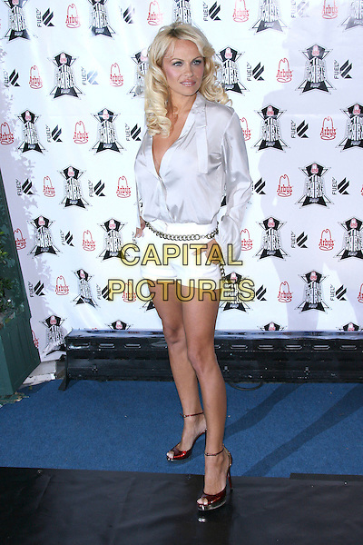 PAMELA ANDERSON.Arby's Action Sports Awards - Arrivals,.held at Center Staging, Burbank, California, .USA, 30 November 2006..full length white shirt shorts red ankle strap shoes sandals .CAP/ADM/ZL.©Zach Lipp/AdMedia/Capital Pictures.