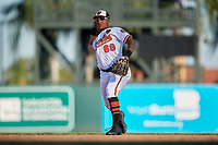 Baltimore Orioles second baseman Christopher Bostick (68) throws to first base during a Grapefruit League Spring Training game against the Detroit Tigers on March 3, 2019 at Ed Smith Stadium in Sarasota, Florida.  Baltimore defeated Detroit 7-5.  (Mike Janes/Four Seam Images)