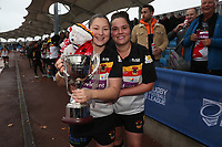 Picture by Paul Currie/SWpix.com - 07/10/2017 - Rugby League - Women's Super League Grand Final - Bradford Bulls v Featherstone Rovers - Regional Arena, Manchester, England - Lisa Taylor of Bradford Bulls and Debbie Smith celebrate with the trophy