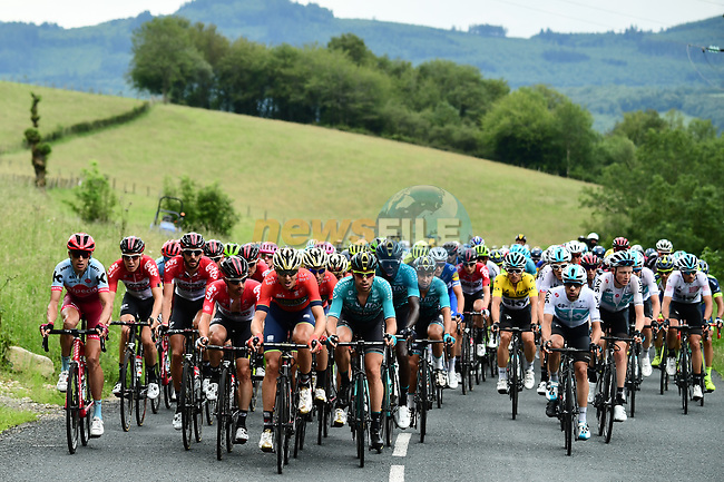 The peleton in action with 20km to go during Stage 2 of the 2018 Criterium du Dauphine 2018 running 181km from Montbrison to Belleville, France. 5th June 2018.<br /> Picture: ASO/Alex Broadway | Cyclefile<br /> <br /> <br /> All photos usage must carry mandatory copyright credit (© Cyclefile | ASO/Alex Broadway)