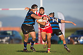 Kalione Hala looks to break free from Sean Bagshaws tackle. Counties Manukau Premier Club Rugby game between Karaka and Onehwero played at Karaka Sports Park on Saturday May 7th 2016. Karaka won the game 46 - 9 after leading 20 - 9 at half time. Photo by Richard Spranger.
