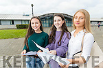 Emma Godley, Iona O'Neill and Katie Doyle, all from Tralee, pictured with their Junior Certificate results at Mercy Mounthawk Secondary School Tralee, on Wednesday morning last.