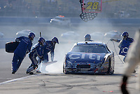 Oct. 10, 2009; Fontana, CA, USA; NASCAR Nationwide Series driver Greg Biffle pits after crashing during the Copart 300 at Auto Club Speedway. Mandatory Credit: Mark J. Rebilas-