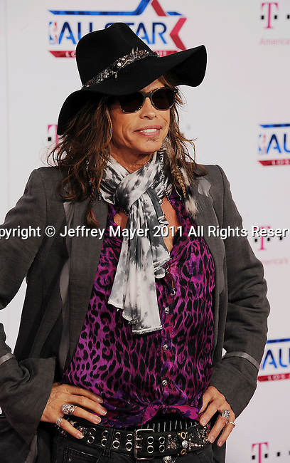 LOS ANGELES, CA - FEBRUARY 20: Steven Tyler arrives at the T-Mobile Magenta Carpet at the 2011 NBA All-Star Game at L.A. Live on February 20, 2011 in Los Angeles, California.