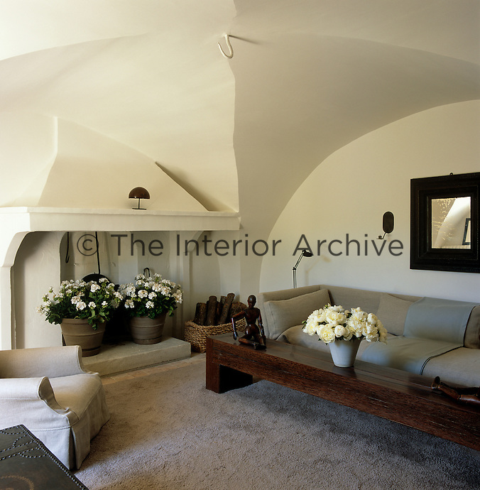 A pair of white geraniums in terracotta pots decorates the hearth in the living room which has a vaulted ceiling