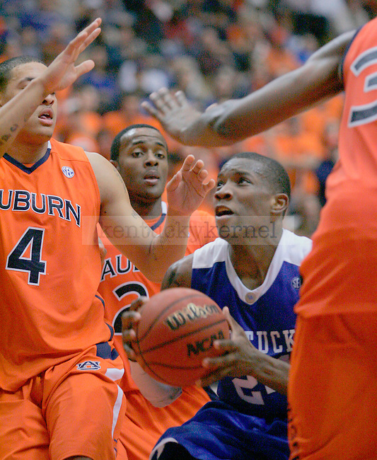 Freshman guard Eric Bledsoe pushes through Auburn defense during the second half of the game at Beard-Eaves-Memorial Coliseum in Auburn, Ala. on Saturday.  Photo by Zach Brake | Staff