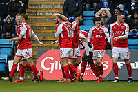 Paddy Madden of Fleetwood Town celebrates with team mates after he scores the opening goal of the game during the Sky Bet League 1 match between Gillingham and Fleetwood Town at the MEMS Priestfield Stadium, Gillingham, England on 27 January 2018. Photo by David Horn.