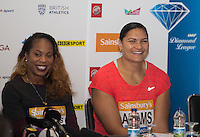 Valerie Adams (right) of New Zealand (Shot Put)  and Sanya Richards-Ross of USA (400m) during Pre Event Press Conference at Grange Tower Bridge Hotel, Prescott Street, The Sainsbury's Anniversary Games Diamond League Event. London, England on 23 July 2015. Photo by Andy Rowland.