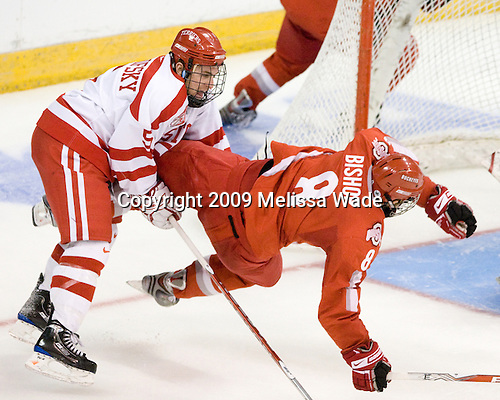 David Warsofsky (BU - 5), Hunter Bishop (Ohio State - 8) - The Boston University Terriers defeated the Ohio State University Buckeyes 8-3 in the 2009 Northeast Regional Semifinal on Saturday, March 28, 2009, at the Verizon Wireless Center in Manchester, New Hampshire.
