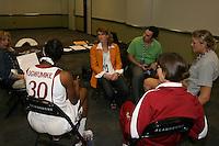 SAN ANTONIO, TX - APRIL 2:  Tara VanDerveer, Jayne Appel, and Nnemkadi Ogwumike at the Final Four media day on April 2, 2010 in San Antonio, Texas.