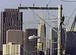 Numerous telephone and power lines block residents view on Potrero hill in San Francisco, California.
