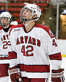 Brendan Rempel (Harvard - 42) - The St. Lawrence University Saints defeated the Harvard University Crimson 3-2 on Friday, November 20, 2009, at the Bright Hockey Center in Cambridge, Massachusetts.