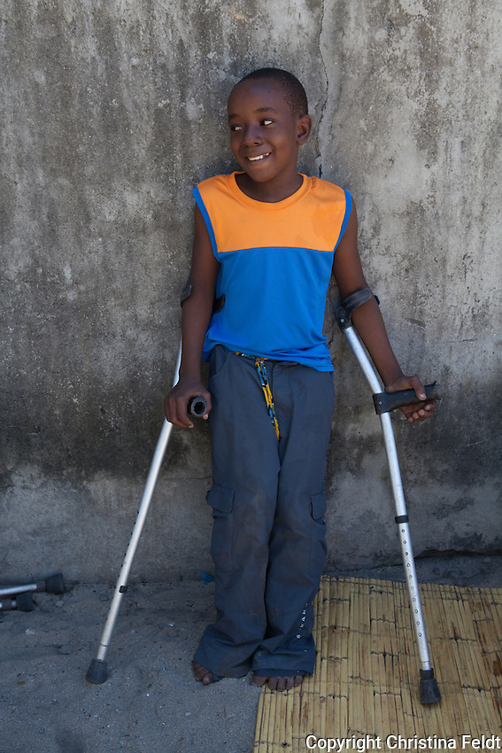 Frank is 10 years old and lives in Beira city, Mozambique, together with his mother and little brother. He has been disabled since birth and recently switched from a wheelchair to crutches. His favourite subject is maths and he wants to be a doctor one day.