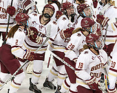 Grace Bizal (BC - 2), Rachel Moore (BC - 8), Caitrin Lonergan (BC - 11), Kali Flanagan (BC - 10), Kathleen McNamara (BC - 28), Toni Ann Miano (BC - 18) - The Boston College Eagles defeated the visiting Boston University Terriers 5-3 (EN) on Friday, November 4, 2016, at Kelley Rink in Conte Forum in Chestnut Hill, Massachusetts.The Boston College Eagles defeated the visiting Boston University Terriers 5-3 (EN) on Friday, November 4, 2016, at Kelley Rink in Conte Forum in Chestnut Hill, Massachusetts.