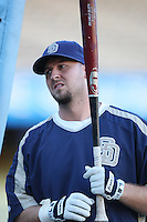 Josh Bard of the San Diego Padres during batting practice before a game against the Los Angeles Dodgers in a 2007 MLB season game at Dodger Stadium in Los Angeles, California. (Larry Goren/Four Seam Images)