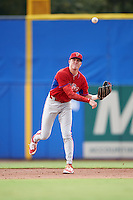 GCL Phillies shortstop Cole Stobbe (7) throws to first during the first game of a doubleheader against the GCL Blue Jays on August 15, 2016 at Florida Auto Exchange Stadium in Dunedin, Florida.  GCL Phillies defeated the GCL Blue Jays 7-5 in a completion of a game started on July 30th.  (Mike Janes/Four Seam Images)