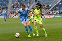 Bridgeview, IL - Wednesday August 16, 2017: Sofia Huerta, Rumi Utsugi during a regular season National Women's Soccer League (NWSL) match between the Chicago Red Stars and the Seattle Reign FC at Toyota Park. The Seattle Reign FC won 2-1.