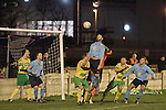 The home team (blue shirts) press for the opening goal during the second-half of the Boxing Day derby match between Runcorn Town and visitors Runcorn Linnets at the Pavilions, Runcorn, in a top-of the table North West Counties League premier division match. Runcorn Linnets won 1-0 and overtook their neighbours at the top of the league in a game watched by 803 spectators. Runcorn Linnets were a successor club to Runcorn FC, one of England foremost non-League clubs of the 1970s and 1980s.