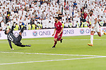 Goalkeeper Khalid Eisa Bilal of United Arab Emirates (L) reaches for the ball after an attempt at goal by Hasan Al Haydos of Qatar (C) during the AFC Asian Cup UAE 2019 Semi Finals match between Qatar (QAT) and United Arab Emirates (UAE) at Mohammed Bin Zaied Stadium  on 29 January 2019 in Abu Dhabi, United Arab Emirates. Photo by Marcio Rodrigo Machado / Power Sport Images