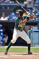 Greensboro Grasshoppers first baseman Felix Munoz #27 awaits a pitch during a game against the  Asheville Tourists at McCormick Field June 29, 2014 in Asheville, North Carolina. The Grasshoppers defeated the Tourists 4-0. (Tony Farlow/Four Seam Images)