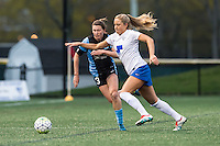 Allston, MA - Saturday, May 07, 2016: Chicago Red Stars defender Arin Gilliland (3) and Boston Breakers midfielder Kristie Mewis (19) during a regular season National Women's Soccer League (NWSL) match at Jordan Field.