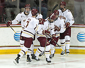 Zach Sanford (BC - 24), Noah Hanifin (BC - 7), Alex Tuch (BC - 12), Adam Gilmour (BC - 14), Ian McCoshen (BC - 3) - The Boston College Eagles defeated the visiting Merrimack College Warriors 2-1 on Wednesday, January 21, 2015, at Kelley Rink in Conte Forum in Chestnut Hill, Massachusetts.